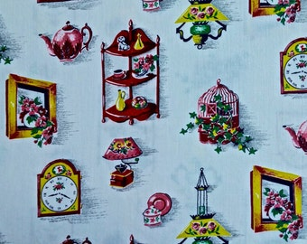 Vintage 36 inch wide Household Print Fabric 1 yard 34 inches long