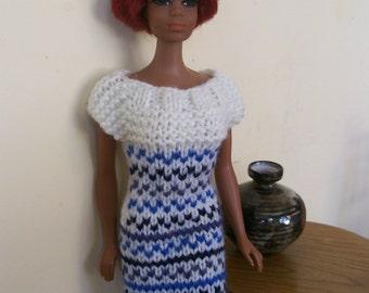 Barbie clothes - blue and cream dress