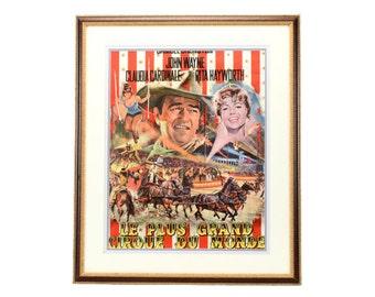 John Wayne Vintage Movie Poster - Circus World - Circa 1964 - Unframed or Framed - Colorful Mancave Art
