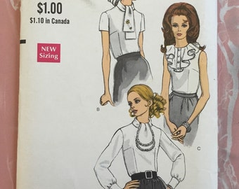 """Charming Blouses Vintage 1960's Vogue Sewing Pattern 7353 Size 10, 32 1/2"""" Bust 34 1/2"""" Hips"""