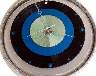 """12"""" Drum Skin & Hoop/rim - Clock w/ a 33 record, painted blue 45 record and a CD."""