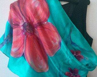 Original Shoulderwrap. Hand Painted Silk Scarf for Ladies. Pink, Coral, Purple, Cyan Blue. Long 18x71 inch Silk  Shawl. Foulard en Soie
