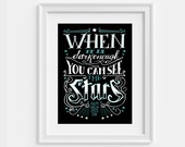Ralph Waldo Emerson quote: When it is dark enough, literary poster (12,60 x 18,10)