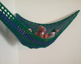 Crochet toy net hammock, stuffed animal storage in blue and green stripes for kids room