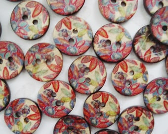 12 Floral Buttons - Multi Colored Leaf Buttons - Autumn Flower Buttons