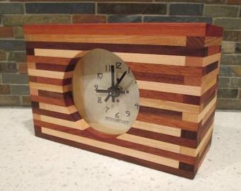 Clock, Desk Clock,  Nightstand Clock, Butcher Block Clock, Wood Clock, Small Clock, Mantel Clock