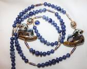 Vintage Necklace Blue Enamel Cloisonne  Chinese Sodalite Bead Bird Pendant 1940s Jewelry
