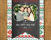 Aztec Tribal Chevron Arrows Christmas Holiday Photo Card, Tribal Holiday Card, Arrows Holiday Card, Aztec Christmas Card, New Years