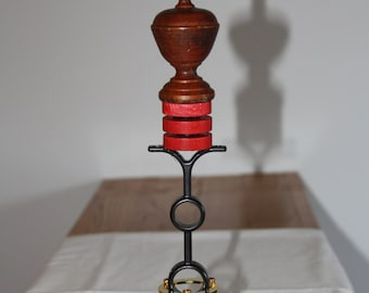 Industrial Finial Sculpture - Steam Punk Art - Wood Finial, Checkers, Drapery Pieces - Salvage