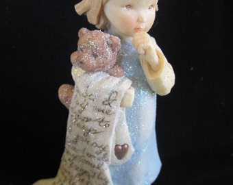 "Childs Gift, NIB Karen Hahn Foundations Girl Teddy Bear & Blanket Figurine ""Now I Lay Me Down To Sleep"" NIB"
