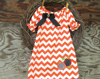 Orange Chevron Dress, Girls Appliqued Dress, Girls Fall Dress, Kids Chevron Dress, Thanksgiving Dress