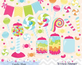 INSTANT DOWNLOAD, candy shop clipart and vectors for personal and commercial use