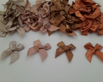 100 miniature Satin Ribbon Bows - Applique bows - Scrapbooking bow - Brown tone