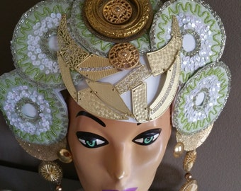 Lime Medallion Jeweled beaded colorful Crown,Lime green, yellow Fascinator,gold,Halo Headdress,Headpiece,Hat,Crown,
