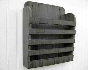 Small Rustic Wooden Distressed Steel Gray Dark Gray Graphite Hanging Magazine Menu Holder  Vintage Design Storage Organizer