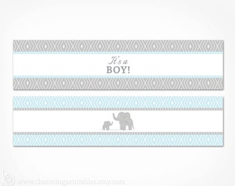 Blue Elephant Water Bottle Labels - Printable Its A Boy Baby Shower Decorations - Instant Download - Blue and Grey