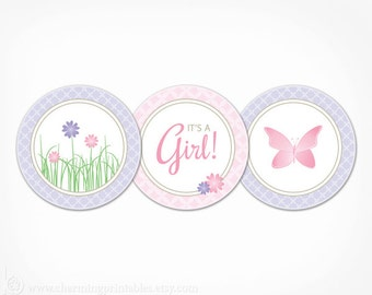Pink and Purple Baby Shower Decorations - Flower Garden Butterfly Cupcake Toppers Favor Tags Party Circles - Printable Instant Download -