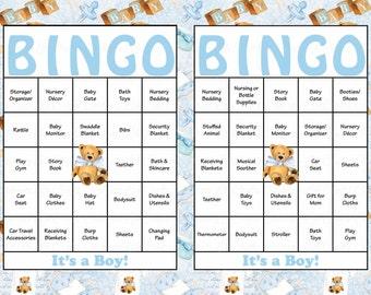 100 Teddy Bear Baby Shower Bingo Cards - 100 Unique Prefilled Bingo Cards - Boy Baby Shower Game - Baby Blue Teddy Bear Download - B32002