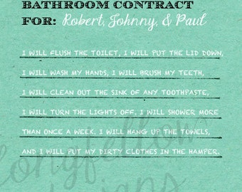 Customized Bathroom Art - Bathroom Rules