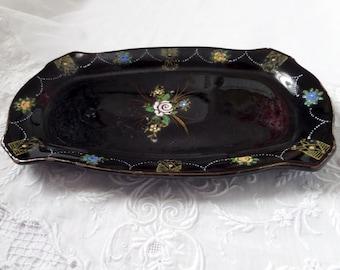 Vintage Black Vanity Tray Trinket Dish Hand Painted Japan Shabby