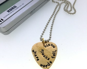 Personalized Guitar Pick -Brass Guitar Pick Necklace - 'Where Words Fail Music Speaks' - Men - Women - On steel ball chain - Customizable