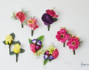 Colorful Wedding Flowers, Colorful Boutonnieres, Silk Flowers, Silk Wedding Flowers, Wedding Flower Set, Boutonnieres, Button Hole, Bout