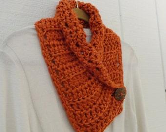 Crochet Button Scarf Neckwarmer Pumpkin Orange Coconut Button Cowl Scarflette
