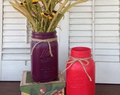 Painted Mason Jars - Purple & Red Cottage Chic Quart Jars - Centerpiece Table Top Decor