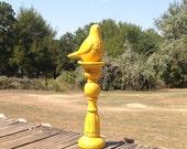 Tall Marigold Bird on a Pedestal - Fall Table Top Decor