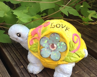 Embellished Garden Turtle - Yellow Whimsy Garden Statue - Yellow Garden Decor - Birthday