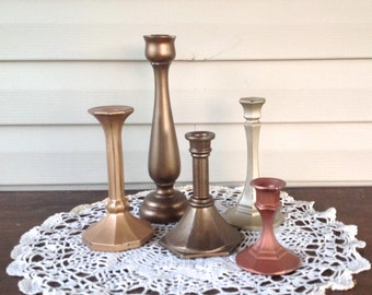 Metallic Candlesticks - Set of 5 Table Top Taper Holders