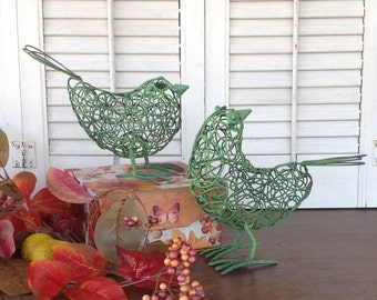 2 Tangled Wire Birds w/Metal Feet - Green Cottage Chic Standing Bird