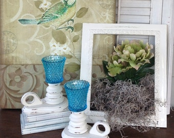 Vintage Chunky Candle Holders w/Diamond Cut Glass Cups - Cottage White/Aqua Mid Century Table Top