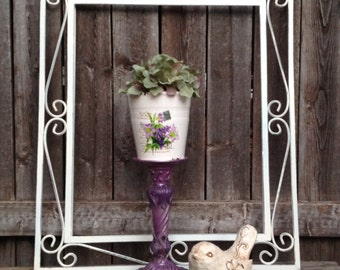 Flower Pot on a Purple Ornate Pedestal - Indoor or Patio Gardening