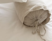 Bolster Neckroll Pillow Case Cover Slipcover. Pure flax linen,  Natural Linen. Size and color options