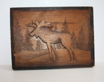 Vintage Hand Carved Wood Moose Signed Plaque/Folk Art Moose Plaque/Rustic Cabin Decor/Carved Wooden Moose Wall Hanging/Outdoor Scene Hanging