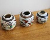 SALE - Vintage Ginger Jars - Instant Collection of Three Oriental Vintage Ceramic Ginger Jars, Spice Jars, Tea Caddy, Pots - No Lids