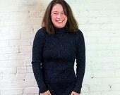 SALE Black Knit Sparkling Party Dress 1970s Vintage Holiday Maxi Dress Size MEDIUM Glittering Long Sleeve Full Length Formal Retro Sweater G
