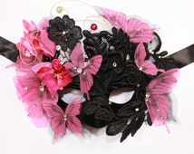 Fuchsia Butterfly Headpiece Mask, Black Lace Masquerade Mask, Halloween Costumes Headpiece, Gothic Venetian Mask