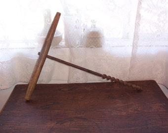 Antique auger large primitive drill T handle auger