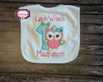Look Who's Turning 1, Owl Birthday Bib, Owl Birthday, Owl Bib, Look Whoo's, Cake Smash, Birthday Bib