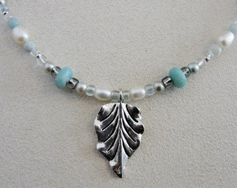 Pearl, Amazonite and Sparkly Glass Beads Gemstone Necklace with Antiqued Silver Leaf Charm.