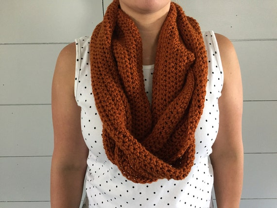 Rust Orange Modern Infinity Scarf, Crochet Scarf Gift for her, Chunky Scarf, Womens Fall Scarf, Oversized Cowl Scarf Under 40. Teen Girls.