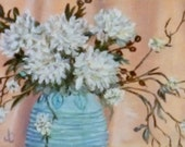 "Fine Art 5X7 Original Still Life Oil Painting ""White Mums"""