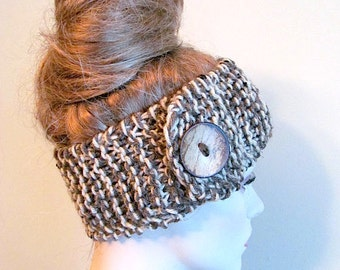 Headbands Earwarmers Turban Buttons Chunky Knit Brown Taupe Variegated Fall Winter Accessories Headcovers Womens Girls Knit Headwraps