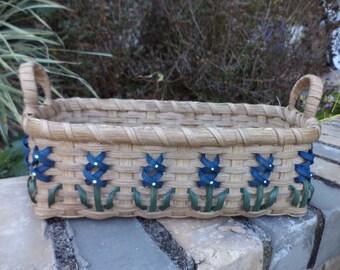 Texas Bluebonnet Bread Basket Handwoven Basket Made in Texas Kitchen Basket Bluebonnet Basket