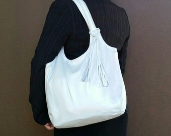 Leather purse / metallic white shoulder bag / everyday tote handbag with tassel bony2