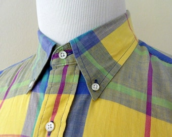 Vintage Lands' End 100% Cotton Indian Madras Yellow Plaid Trad / Ivy League Casual Shirt L.  Made in USA.
