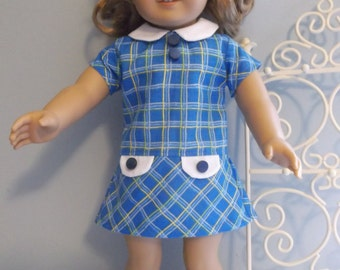 18 inch doll School girl dress blue plaid by ProjectFunway on Etsy