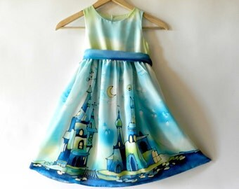 Fairy tale silk dress . Silk hand painted dress. Made to order.